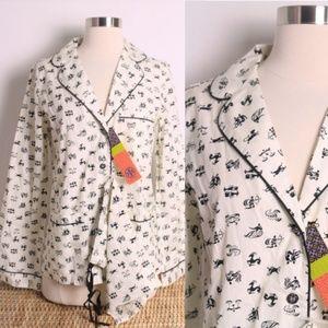 NWT Tory Burch Zodiac Print Cotton Pajama Shirt XS